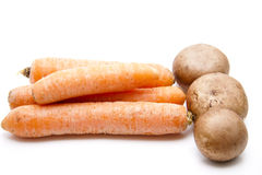 Raw carrots and champignons Stock Image