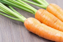 Raw carrots with green tops Stock Image