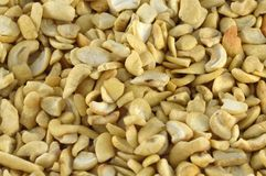 Raw cashew nuts background. Close-up of layer of cashew nuts Stock Images