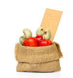 Raw cashew nuts and Fresh Cashew Nut pour from sack Stock Photos