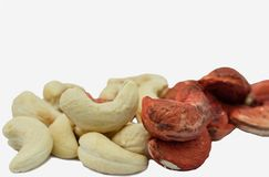 Raw Cashew nuts group. On a white background royalty free stock photos