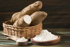Raw cassava tuber - Manihot esculenta. Top view royalty free stock images