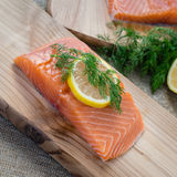 Raw Cedar Plank Salmon Royalty Free Stock Photos