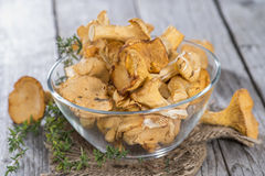 Raw Chanterelles on wood. Raw Chanterelles on vintage wooden background Stock Images