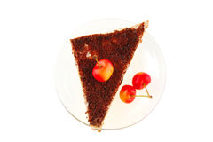 Raw cherry and chocolate cake Royalty Free Stock Photos