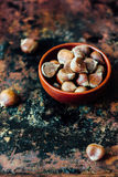 Raw chestnuts in ceramic bowl Royalty Free Stock Images