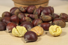 Raw chestnuts on a clear wood table Royalty Free Stock Images