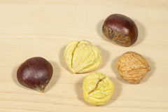 Raw chestnuts on a wooden table Royalty Free Stock Images