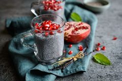 Raw chia pudding with pomegranate seeds. In glass jars Stock Images