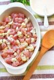 Raw chicken breast and cauliflower casserole Royalty Free Stock Image
