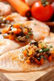 Raw chicken breast filled with vegetables garnish Stock Image