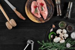 Raw chicken breast fillets on wooden cutting board with herbs and spices. Top view with copy space. Raw chicken breast fillets on wooden cutting board with herbs Stock Images