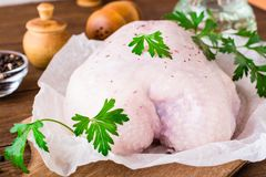 Raw chicken breast on a frame in spices and herbs. On a cutting board on a wooden table Stock Photography