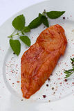 Raw chicken Breast, marinated , with herbs Stock Image