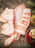 Raw chicken breast slices of bacon before baking. Ingredients for the recipe Royalty Free Stock Image