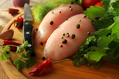 Raw chicken breasts royalty free stock image