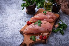 Raw chicken breasts or fillets Royalty Free Stock Photos
