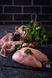 Raw chicken breasts or fillets. And cooking ingredients. Selective focus Royalty Free Stock Photo