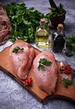 Raw chicken breasts or fillets Royalty Free Stock Photography