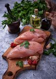 Raw chicken breasts or fillets Royalty Free Stock Images
