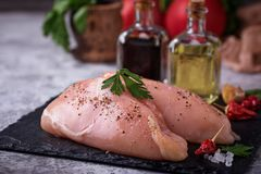 Raw chicken breasts or fillets Stock Image