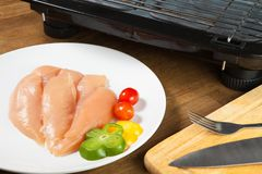 Raw chicken breasts and spices on white plate ready to cook with. Electric grill Royalty Free Stock Photography