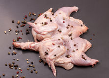 Raw chicken carcass with peppercorns on a dark background Royalty Free Stock Image