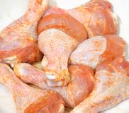 Raw chicken drumstick close up. Raw chicken drumstick close up, can be used as a background Royalty Free Stock Photography