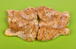 Raw chicken drumstick marinated in spices Royalty Free Stock Photos