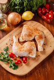 Raw chicken drumsticks seasoned with herbs Stock Images