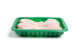 Raw Chicken Drumsticks in Tray Stock Photo
