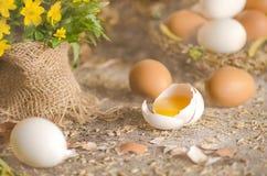 Raw chicken egg yolk broken stock image