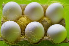 Raw Chicken Eggs. Close-up View of Raw Chicken Eggs in Egg Box Royalty Free Stock Image