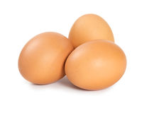 Raw chicken eggs. Isolated on white background Royalty Free Stock Photography
