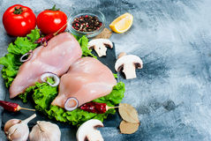 Raw chicken fillet on cutting board with spices and herbs. Stock Photos