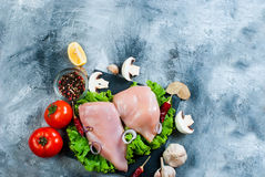 Raw chicken fillet on cutting board with spices and herbs. Stock Photography
