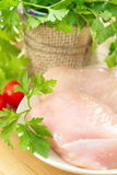 Raw chicken fillet with spices and vegetables. On the plate Royalty Free Stock Photography