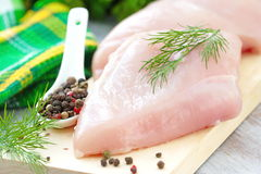 Raw chicken fillet with spices and vegetables Stock Images