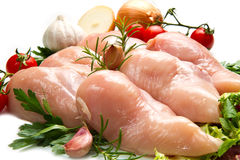 Raw chicken fillets close up on white Stock Photography