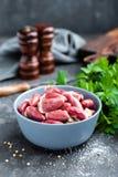 Raw chicken hearts. Closeup, stock photo Royalty Free Stock Image