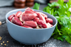Raw chicken hearts. Closeup, stock photo Stock Photography