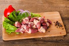 Raw chicken hearts. For cooking Stock Image