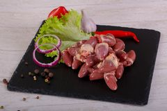 Raw chicken hearts. For cooking Stock Photo