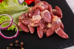 Raw chicken hearts. For cooking Royalty Free Stock Images