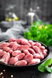 Raw chicken hearts. Fresh chicken hearts. In bowl Royalty Free Stock Photography