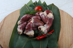 Raw chicken hearts. With pepper and thyme on the bamboo leaves Stock Images