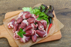 Raw chicken hearts. On the plate ready for cooking Royalty Free Stock Images