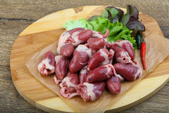 Raw chicken hearts. On the plate ready for cooking Stock Image