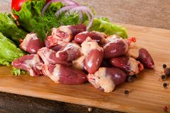 Raw chicken hearts. For cooking Royalty Free Stock Image