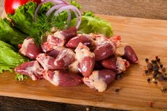 Raw chicken hearts. For cooking Royalty Free Stock Photos